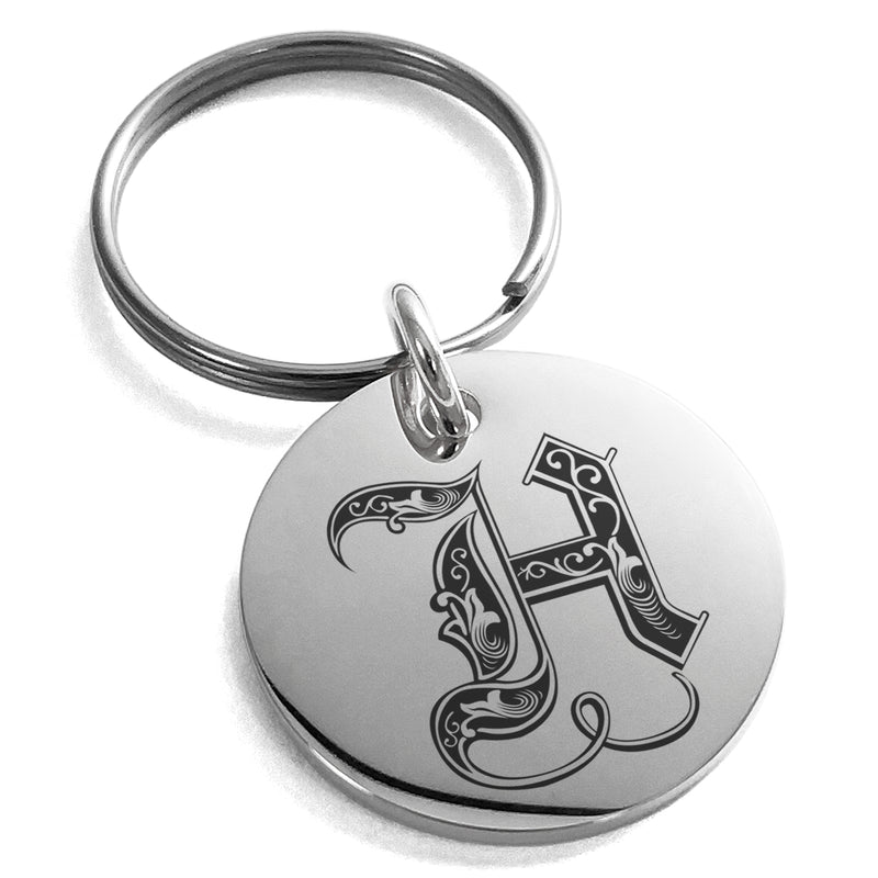Stainless Steel Letter H Initial Royal Monogram Engraved Small Medallion Circle Charm Keychain Keyring - Tioneer