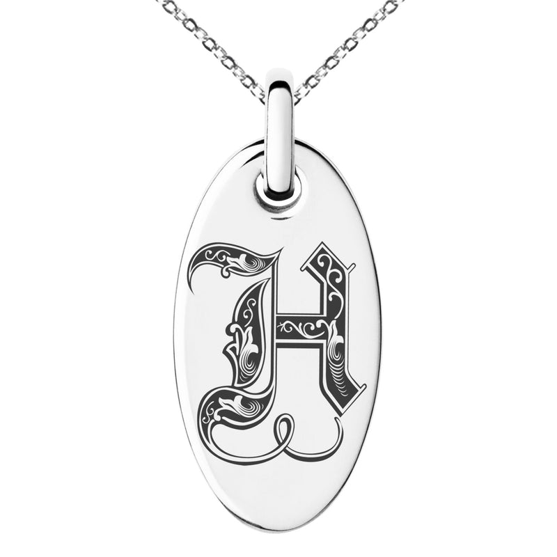Stainless Steel Letter H Initial Royal Monogram Engraved Small Oval Charm Pendant Necklace