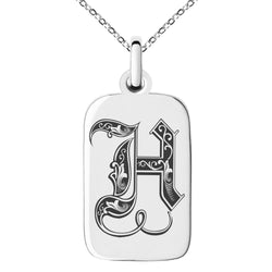 Stainless Steel Letter H Initial Royal Monogram Engraved Small Rectangle Dog Tag Charm Pendant Necklace