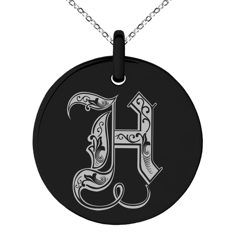 Stainless Steel Letter H Initial Royal Monogram Engraved Small Medallion Circle Charm Pendant Necklace