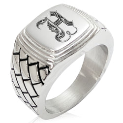 Stainless Steel Letter H Alphabet Initial Royal Monogram Geometric Pattern Step-Down Biker Style Polished Ring - Tioneer