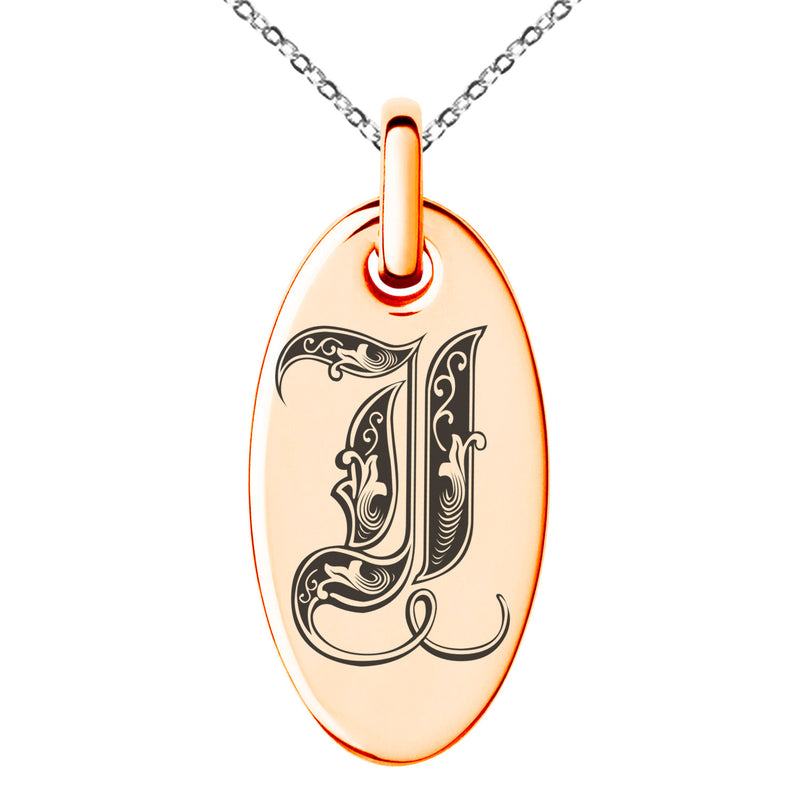 Stainless Steel Letter I Initial Royal Monogram Engraved Small Oval Charm Pendant Necklace