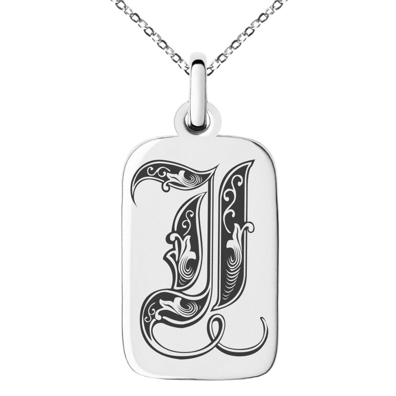Stainless Steel Letter I Initial Royal Monogram Engraved Small Rectangle Dog Tag Charm Pendant Necklace