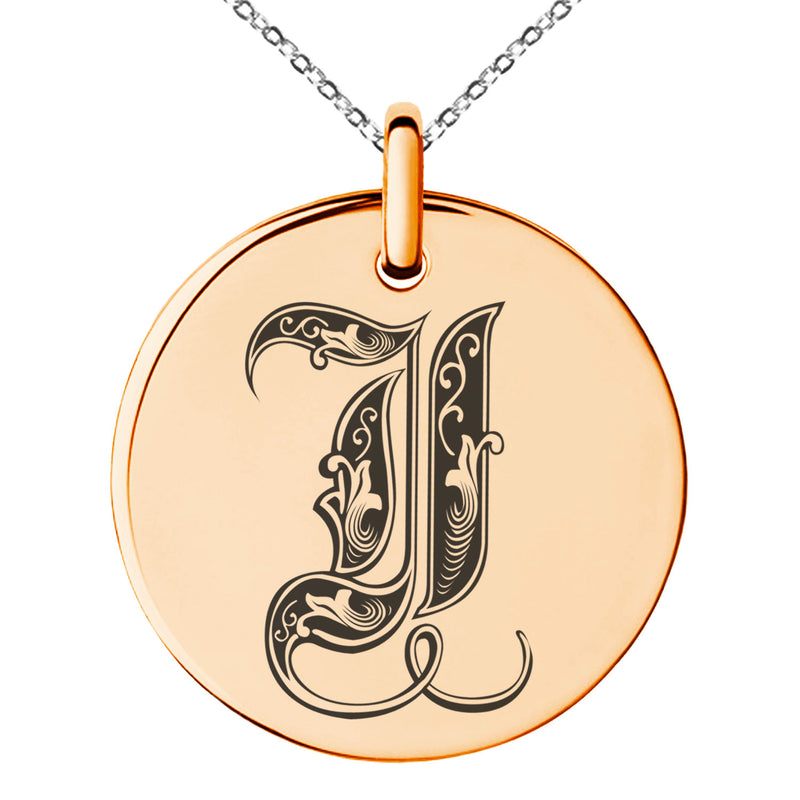 Stainless Steel Letter I Initial Royal Monogram Engraved Small Medallion Circle Charm Pendant Necklace