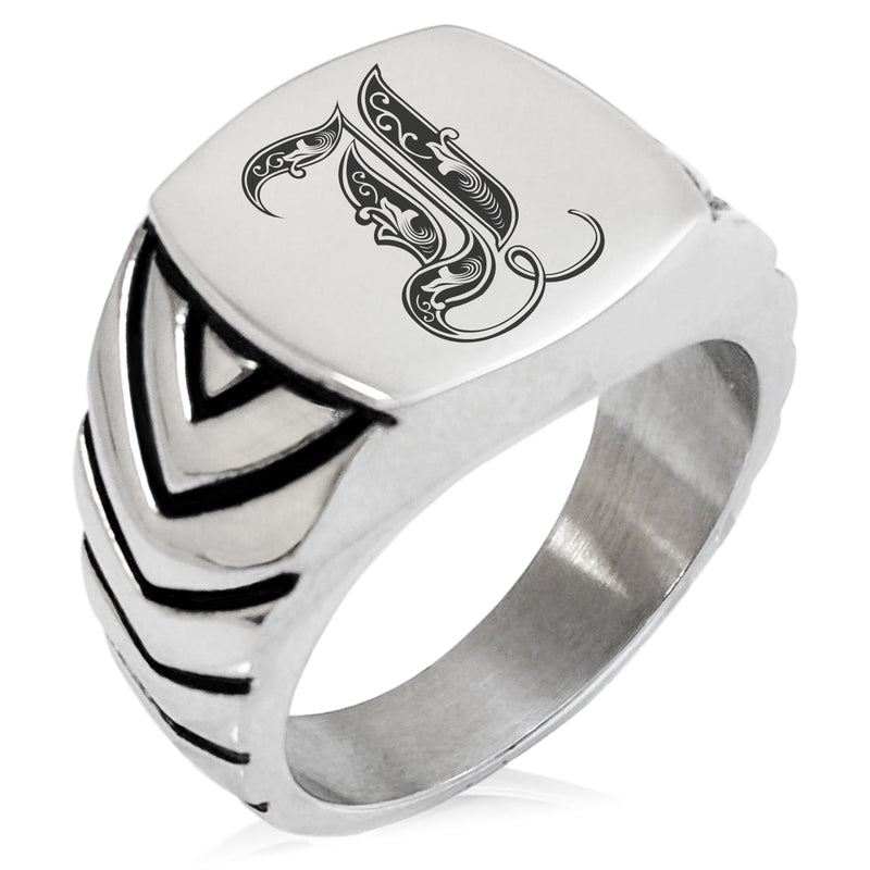 Stainless Steel Letter I Alphabet Initial Royal Monogram Chevron Pattern Biker Style Polished Ring - Tioneer