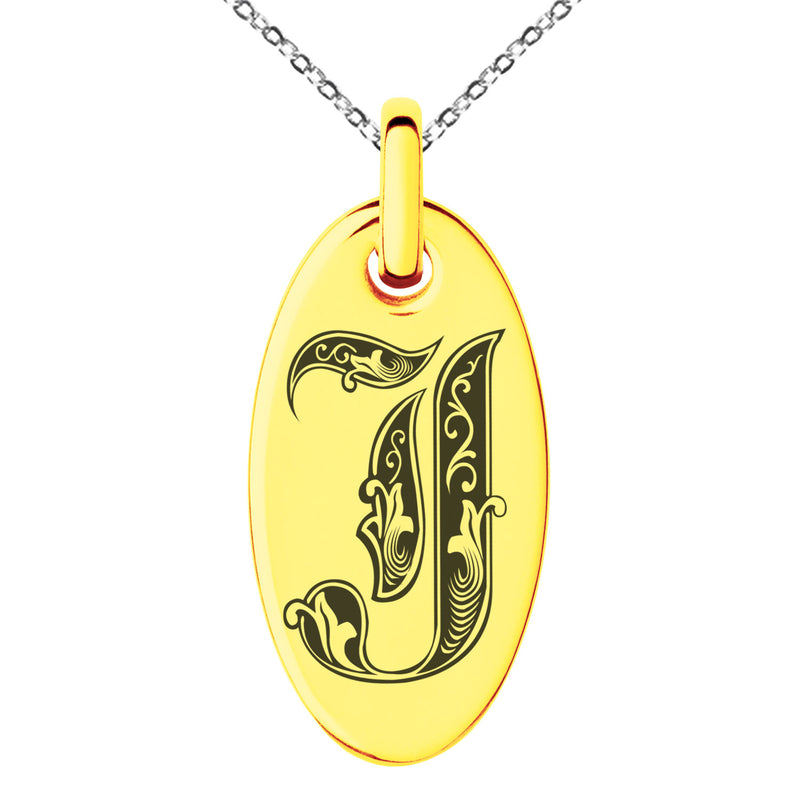 Stainless Steel Letter J Initial Royal Monogram Engraved Small Oval Charm Pendant Necklace