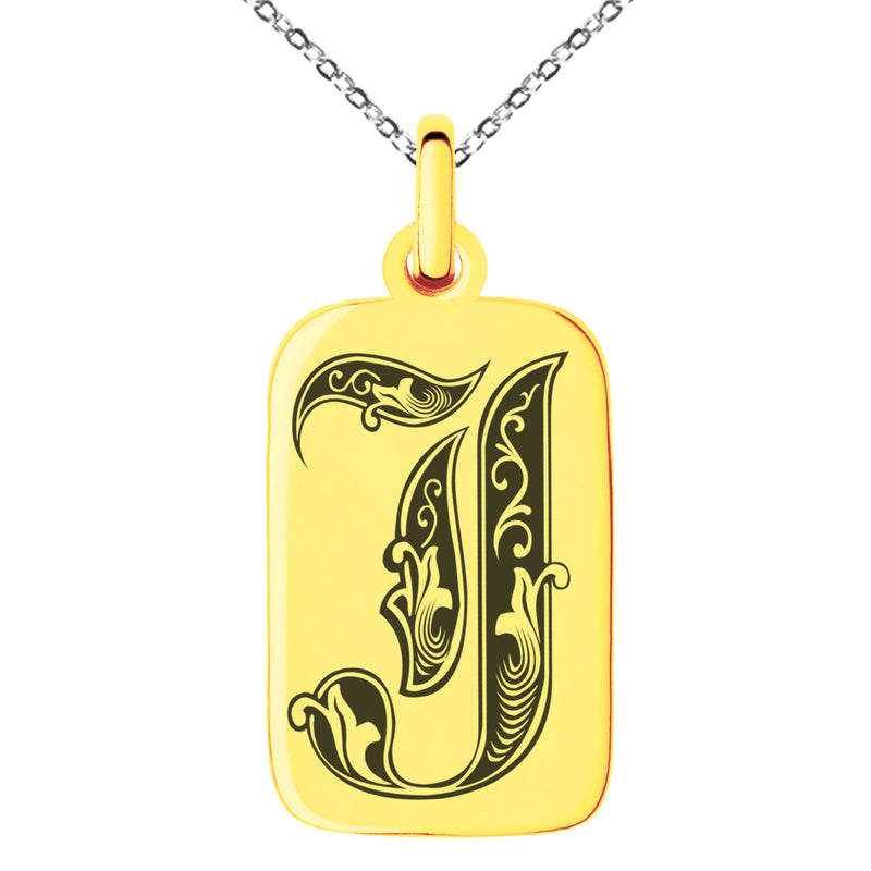 Stainless Steel Letter J Initial Royal Monogram Engraved Small Rectangle Dog Tag Charm Pendant Necklace