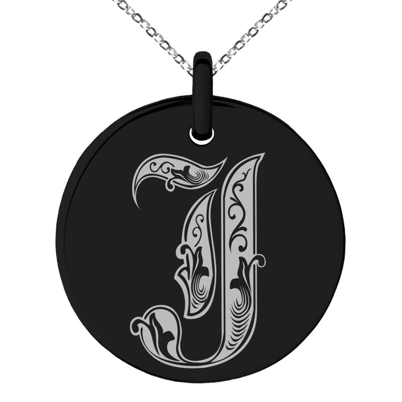 Stainless Steel Letter J Initial Royal Monogram Engraved Small Medallion Circle Charm Pendant Necklace
