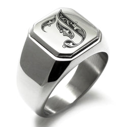 Stainless Steel Letter J Alphabet Initial Royal Monogram Engraved Square Flat Top Biker Style Polished Ring - Tioneer
