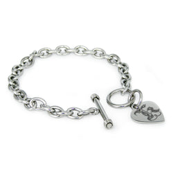 Stainless Steel Letter K Alphabet Initial Royal Monogram Engraved Heart Charm Toggle Link Bracelet - Tioneer