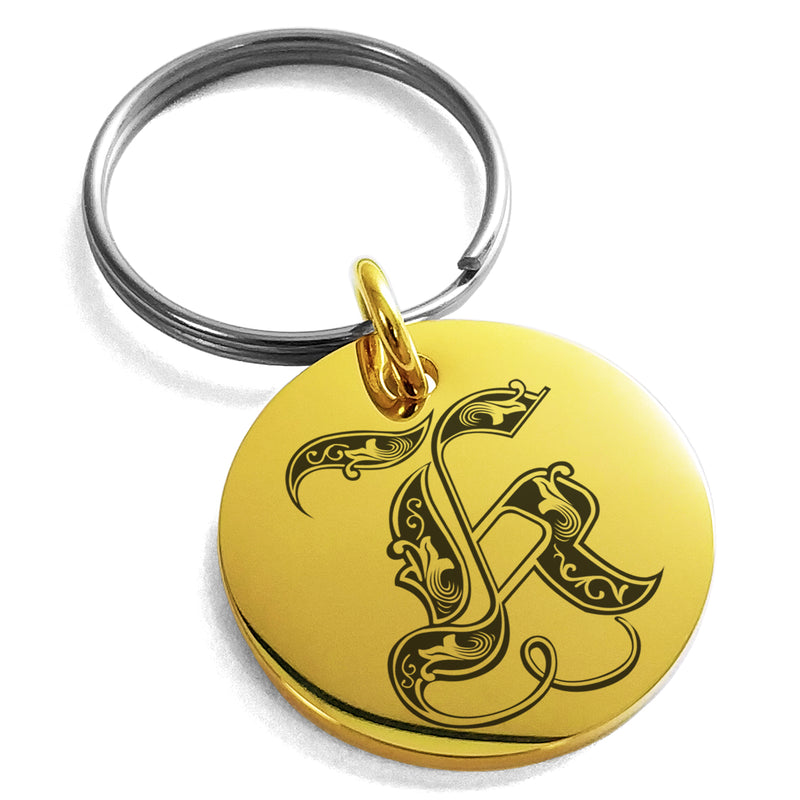 Stainless Steel Letter K Initial Royal Monogram Engraved Small Medallion Circle Charm Keychain Keyring - Tioneer