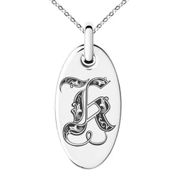 Stainless Steel Letter K Initial Royal Monogram Engraved Small Oval Charm Pendant Necklace