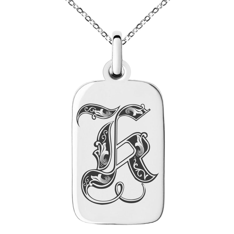 Stainless Steel Letter K Initial Royal Monogram Engraved Small Rectangle Dog Tag Charm Pendant Necklace