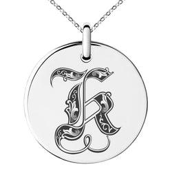 Stainless Steel Letter K Initial Royal Monogram Engraved Small Medallion Circle Charm Pendant Necklace