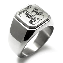 Stainless Steel Letter K Alphabet Initial Royal Monogram Engraved Square Flat Top Biker Style Polished Ring - Tioneer