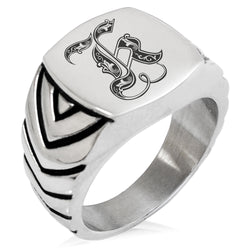 Stainless Steel Letter K Alphabet Initial Royal Monogram Chevron Pattern Biker Style Polished Ring - Tioneer