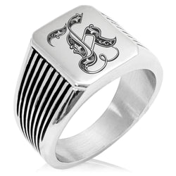 Stainless Steel Letter K Alphabet Initial Royal Monogram Needle Stripe Pattern Biker Style Polished Ring - Tioneer