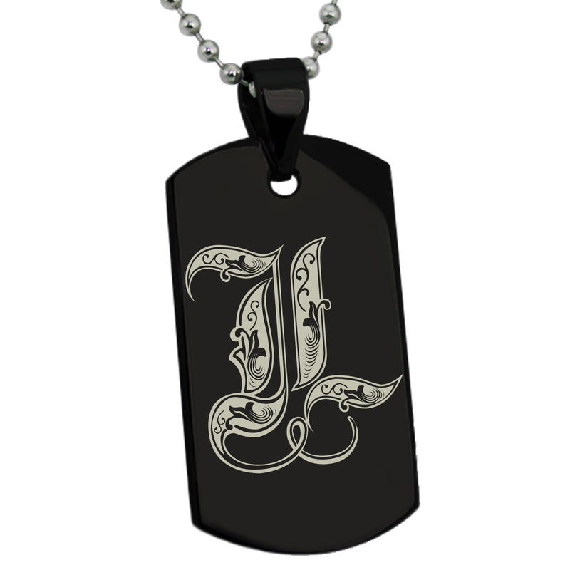 Stainless Steel Letter L Alphabet Initial Royal Monogram Engraved Dog Tag Pendant Necklace - Tioneer