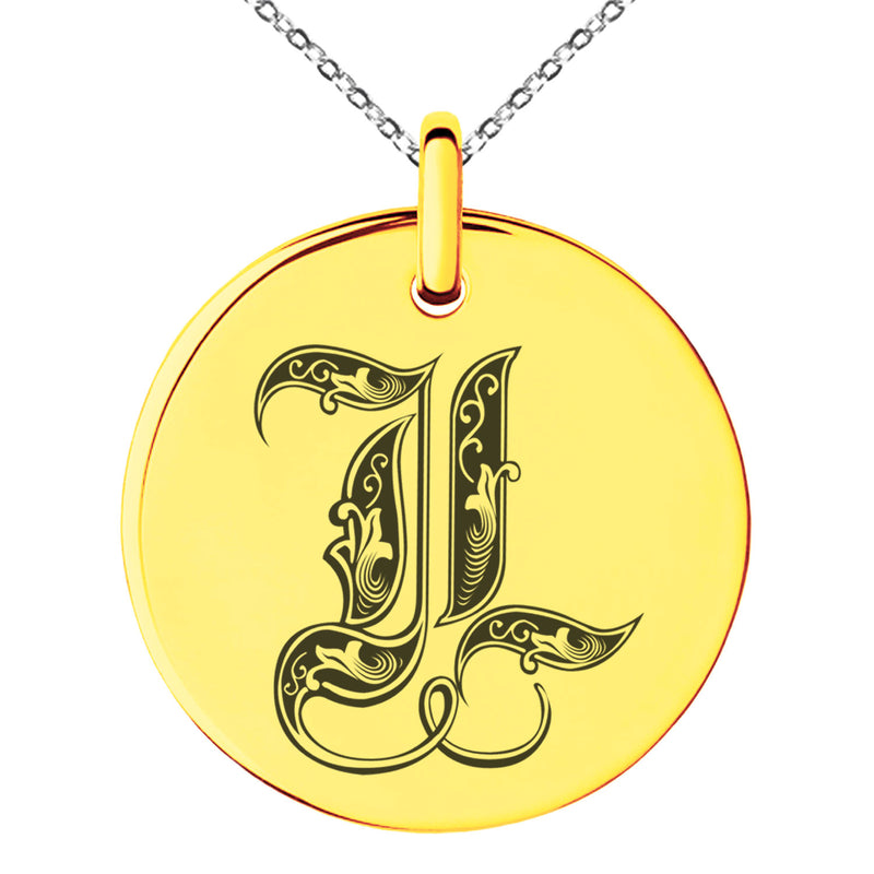 Stainless Steel Letter L Initial Royal Monogram Engraved Small Medallion Circle Charm Pendant Necklace