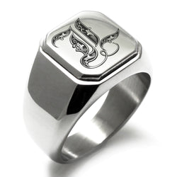 Stainless Steel Letter L Alphabet Initial Royal Monogram Engraved Square Flat Top Biker Style Polished Ring - Tioneer