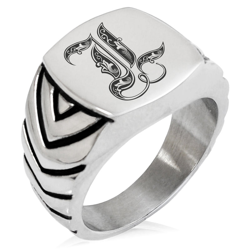 Stainless Steel Letter L Alphabet Initial Royal Monogram Chevron Pattern Biker Style Polished Ring - Tioneer