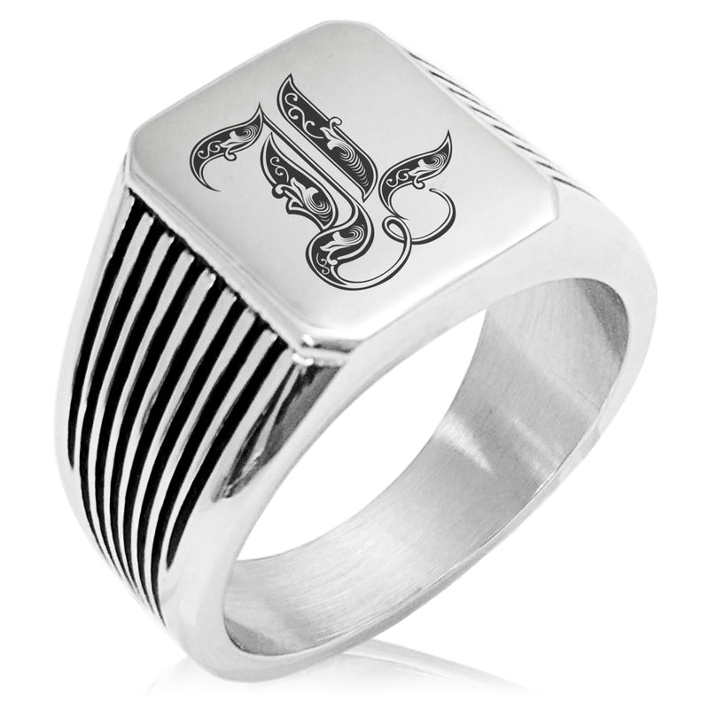 Stainless Steel Letter L Alphabet Initial Royal Monogram Needle Stripe Pattern Biker Style Polished Ring - Tioneer