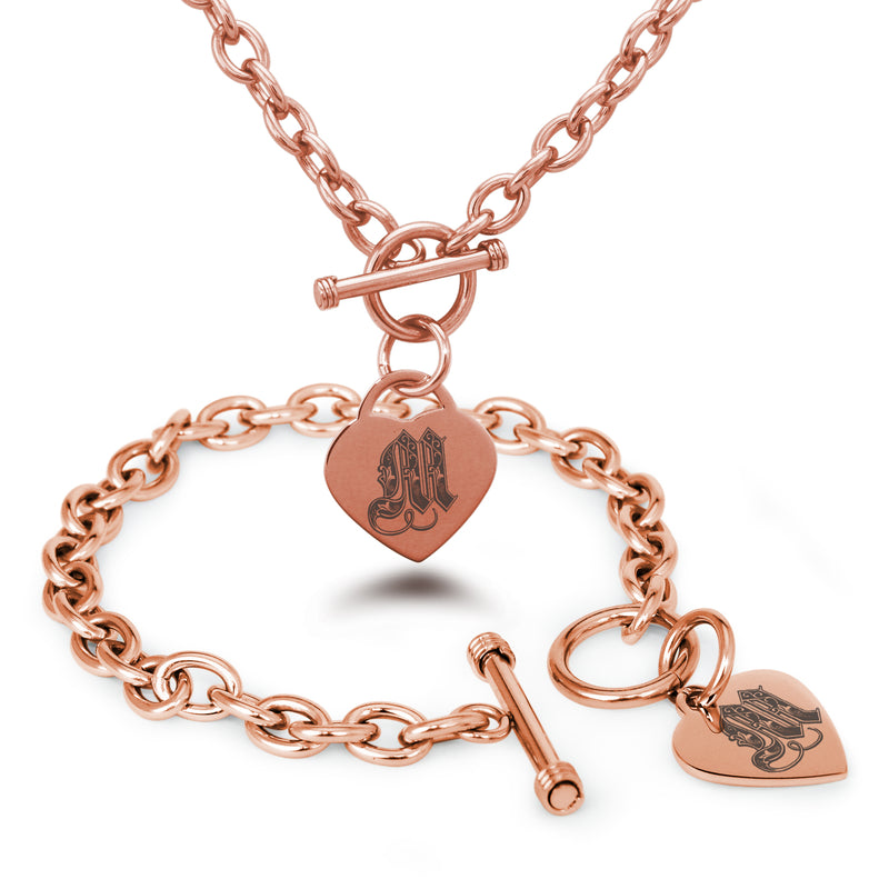 Stainless Steel Letter M Alphabet Initial Royal Monogram Engraved Heart Charm Toggle Link Bracelet Necklace Set - Tioneer