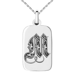 Stainless Steel Letter M Initial Royal Monogram Engraved Small Rectangle Dog Tag Charm Pendant Necklace