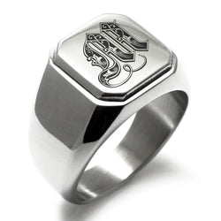 Stainless Steel Letter M Alphabet Initial Royal Monogram Engraved Square Flat Top Biker Style Polished Ring - Tioneer