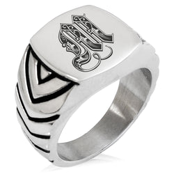 Stainless Steel Letter M Alphabet Initial Royal Monogram Chevron Pattern Biker Style Polished Ring - Tioneer