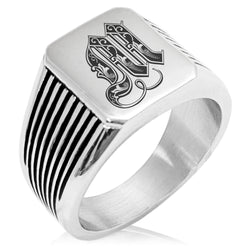 Stainless Steel Letter M Alphabet Initial Royal Monogram Needle Stripe Pattern Biker Style Polished Ring - Tioneer