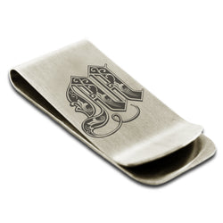 Stainless Steel Letter M Alphabet Initial Royal Monogram Engraved Money Clip Credit Card Holder - Tioneer