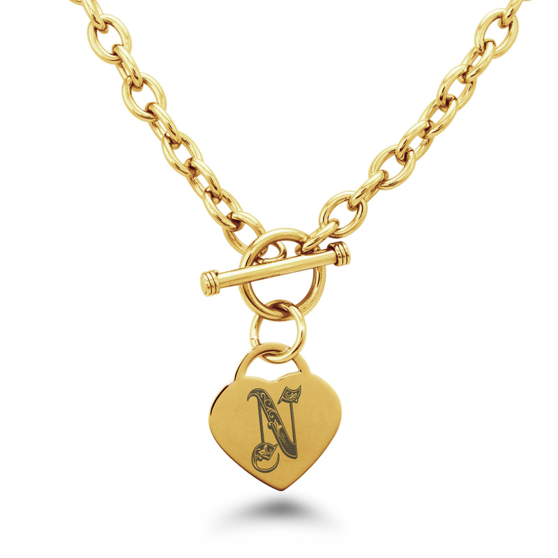 Stainless Steel Letter N Alphabet Initial Royal Monogram Engraved Heart Charm Toggle Link Necklace - Tioneer