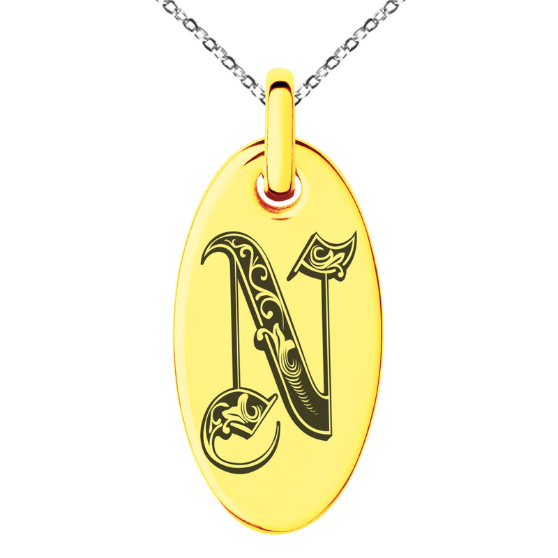 Stainless Steel Letter N Initial Royal Monogram Engraved Small Oval Charm Pendant Necklace