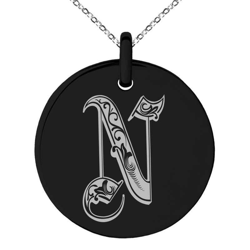 Stainless Steel Letter N Initial Royal Monogram Engraved Small Medallion Circle Charm Pendant Necklace