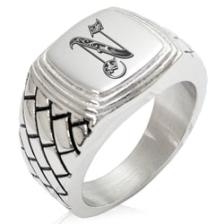 Stainless Steel Letter N Alphabet Initial Royal Monogram Geometric Pattern Step-Down Biker Style Polished Ring - Tioneer