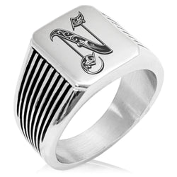 Stainless Steel Letter N Alphabet Initial Royal Monogram Needle Stripe Pattern Biker Style Polished Ring - Tioneer