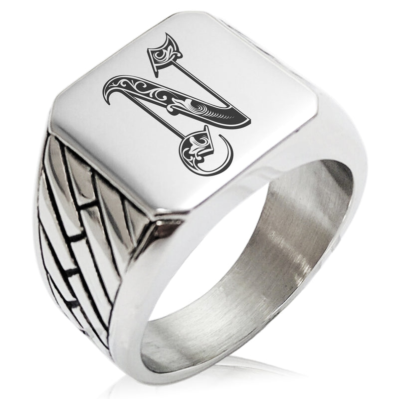 Stainless Steel Letter N Alphabet Initial Royal Monogram Geometric Pattern Biker Style Polished Ring - Tioneer