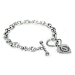 Stainless Steel Letter O Alphabet Initial Royal Monogram Engraved Heart Charm Toggle Link Bracelet - Tioneer