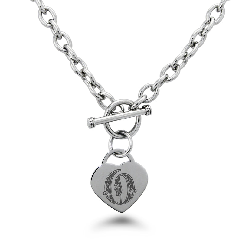 Stainless Steel Letter O Alphabet Initial Royal Monogram Engraved Heart Charm Toggle Link Necklace - Tioneer