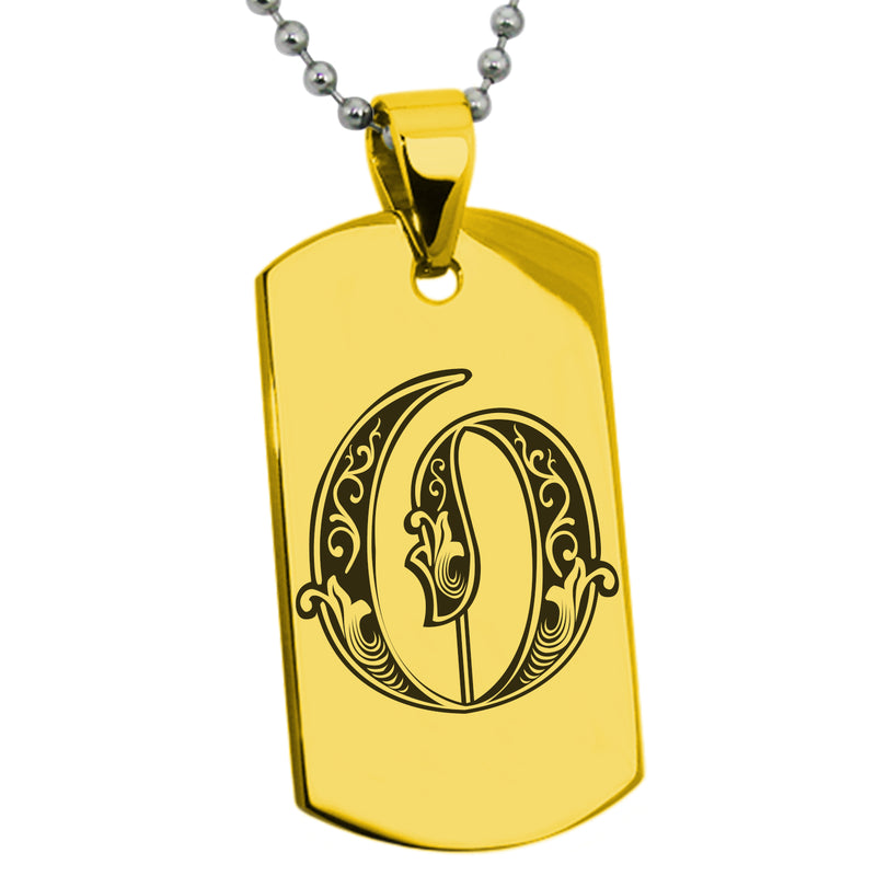 Stainless Steel Letter O Alphabet Initial Royal Monogram Engraved Dog Tag Pendant Necklace - Tioneer