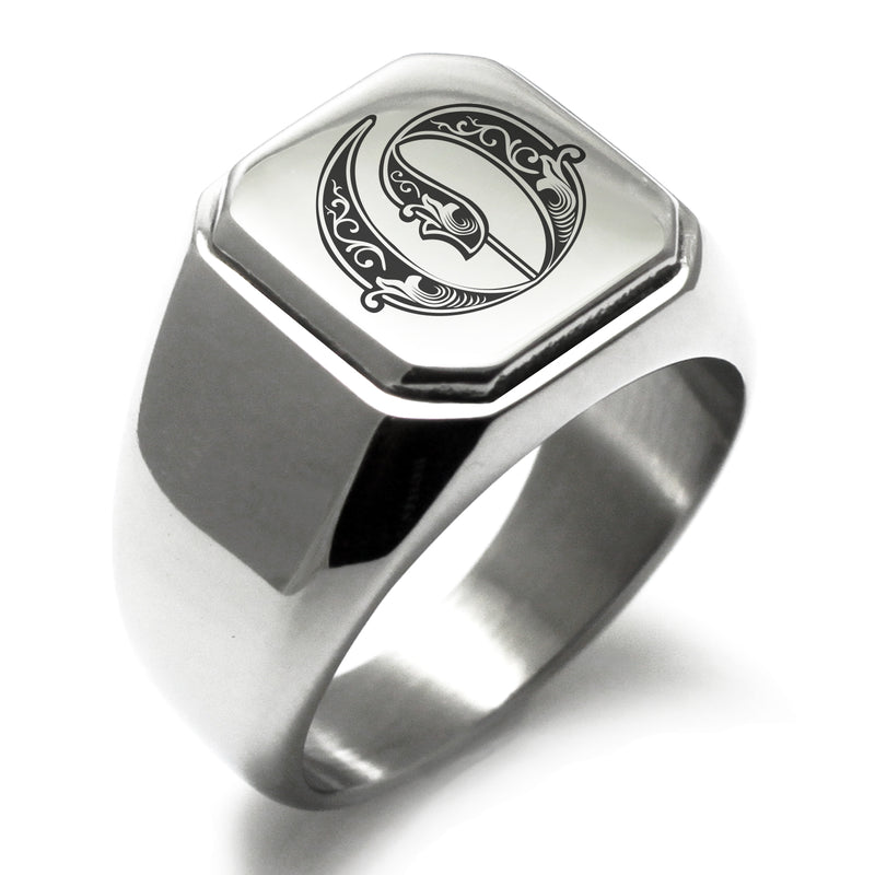 Stainless Steel Letter O Alphabet Initial Royal Monogram Engraved Square Flat Top Biker Style Polished Ring - Tioneer