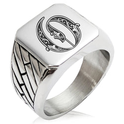 Stainless Steel Letter O Alphabet Initial Royal Monogram Geometric Pattern Biker Style Polished Ring - Tioneer