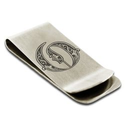 Stainless Steel Letter O Alphabet Initial Royal Monogram Engraved Money Clip Credit Card Holder - Tioneer