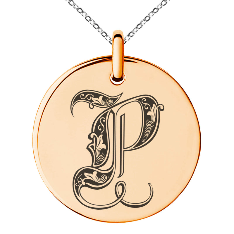 Stainless Steel Letter P Initial Royal Monogram Engraved Small Medallion Circle Charm Pendant Necklace