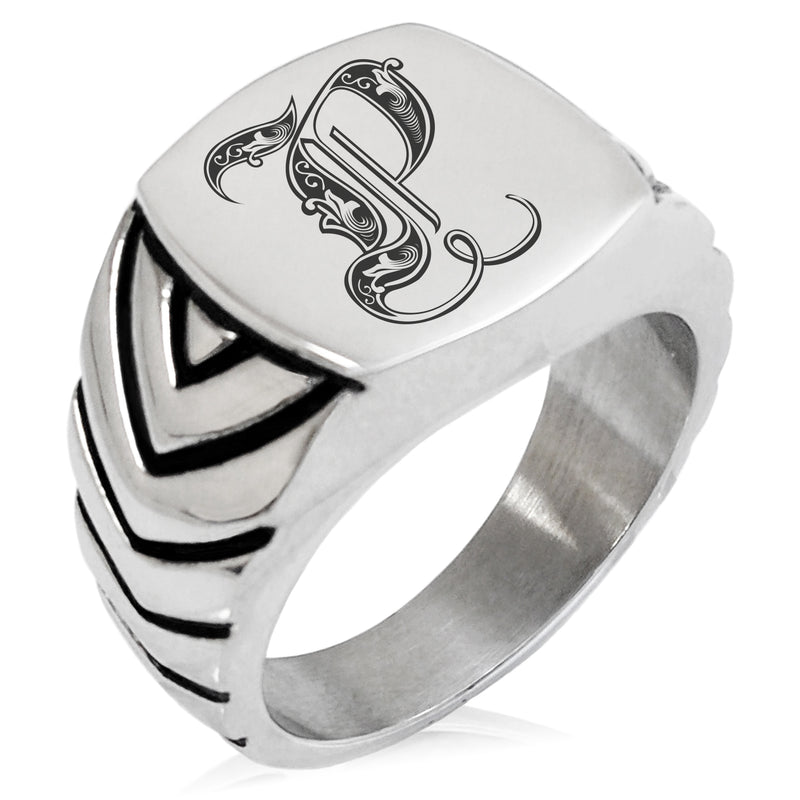 Stainless Steel Letter P Alphabet Initial Royal Monogram Chevron Pattern Biker Style Polished Ring - Tioneer