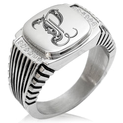 Stainless Steel Letter P Alphabet Initial Royal Monogram CZ Ribbed Needle Stripe Pattern Biker Style Polished Ring - Tioneer
