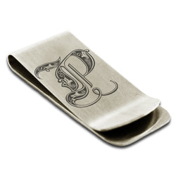 Stainless Steel Letter P Alphabet Initial Royal Monogram Engraved Money Clip Credit Card Holder - Tioneer