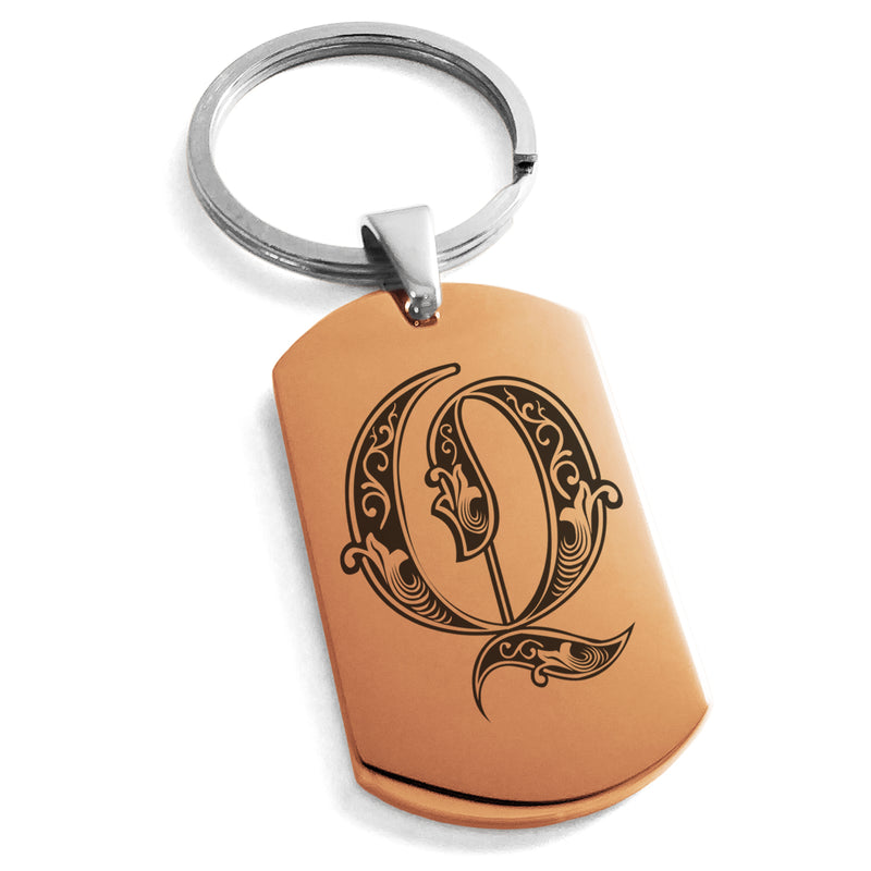 Stainless Steel Letter Q Alphabet Initial Royal Monogram Engraved Dog Tag Keychain Keyring - Tioneer