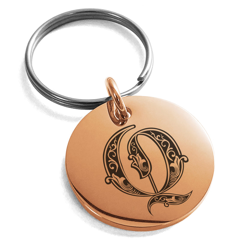 Stainless Steel Letter Q Initial Royal Monogram Engraved Small Medallion Circle Charm Keychain Keyring - Tioneer